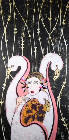 Woman and Flamingos, Original Painting