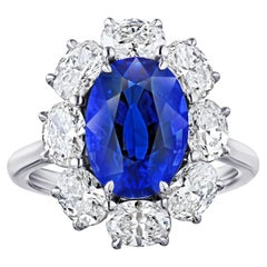 """""""Diana"""" Spaced Oval Halo Five Carat Blue Sapphire Platinum Ring"""