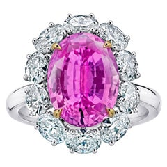 """""""Diana"""" Spaced Oval Halo Five Carat Pink Oval Sapphire Platinum Ring"""