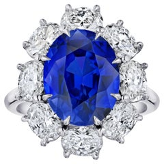 """""""Diana"""" Spaced Oval Halo Six Carat Blue Oval Sapphire Platinum Ring"""