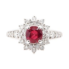 Diana-Style, 1.24 Carat, Natural Round-Cut Ruby and Diamond Ring Set in Platinum