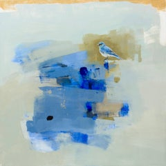 April / abstract blue bird - oil on canvas