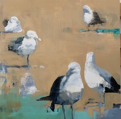 By the Shore No. 3- oil on canvas birds, nature, abstract