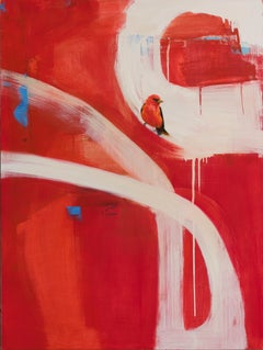 Crossroads / cardinal bird abstract nature - oil on canvas