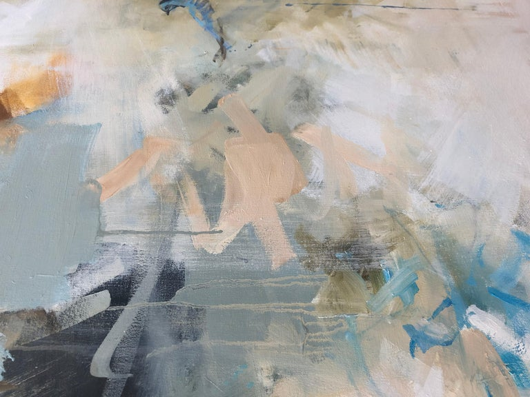 Flight of the Blue Bird / abstract nature - oil on canvas - Painting by Diana Tremaine