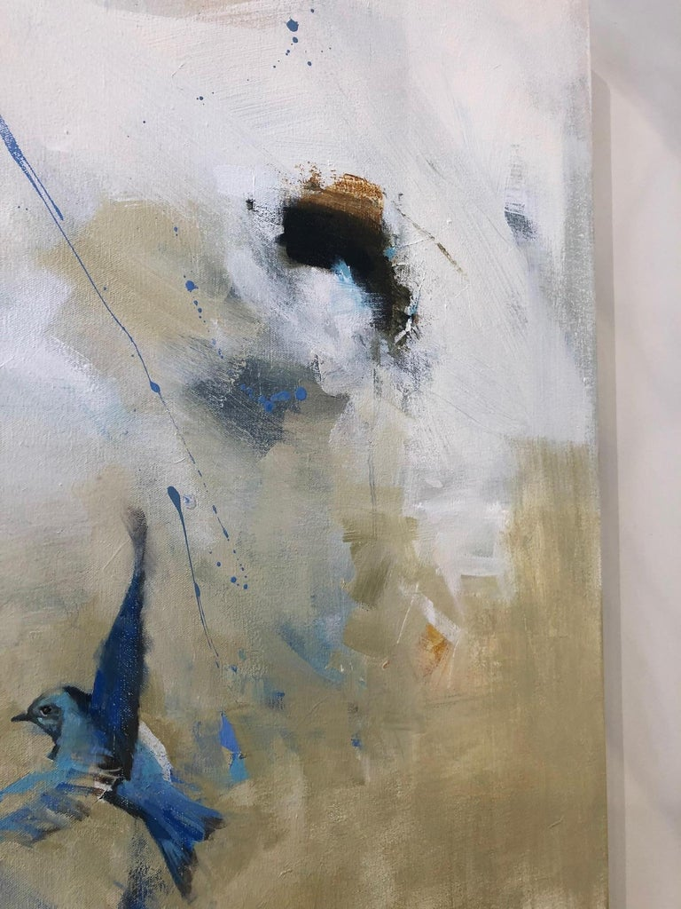 Flight of the Blue Bird / abstract nature - oil on canvas - Beige Animal Painting by Diana Tremaine
