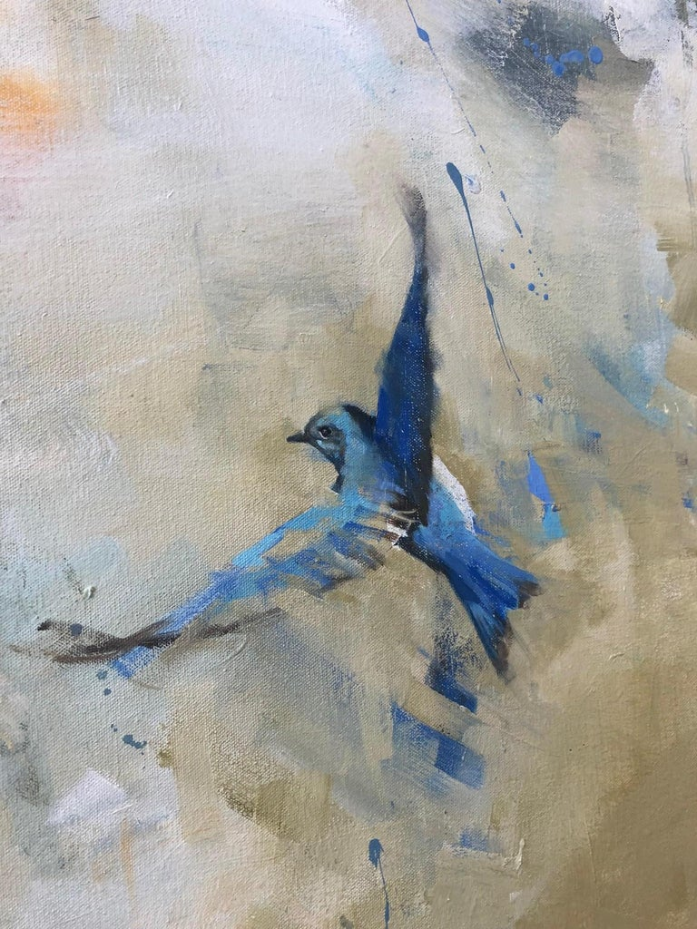 A bird in flight set against a background of abstract smokey grey, cream, white and celadon blue, oil on canvas painting from Diana Tremaine, whose series,