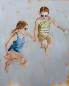 Plunge - girls, sisters, friends, children in mid air - childhood freedom