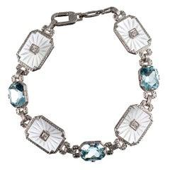 Diana's Art Deco Aquamarine & Rock Crystal Bracelet