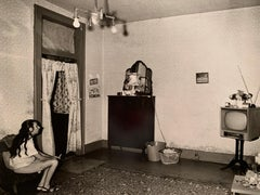 """1970s """"Girl Alone with TV In the Style of Diane Arbus Black & White Photography"""