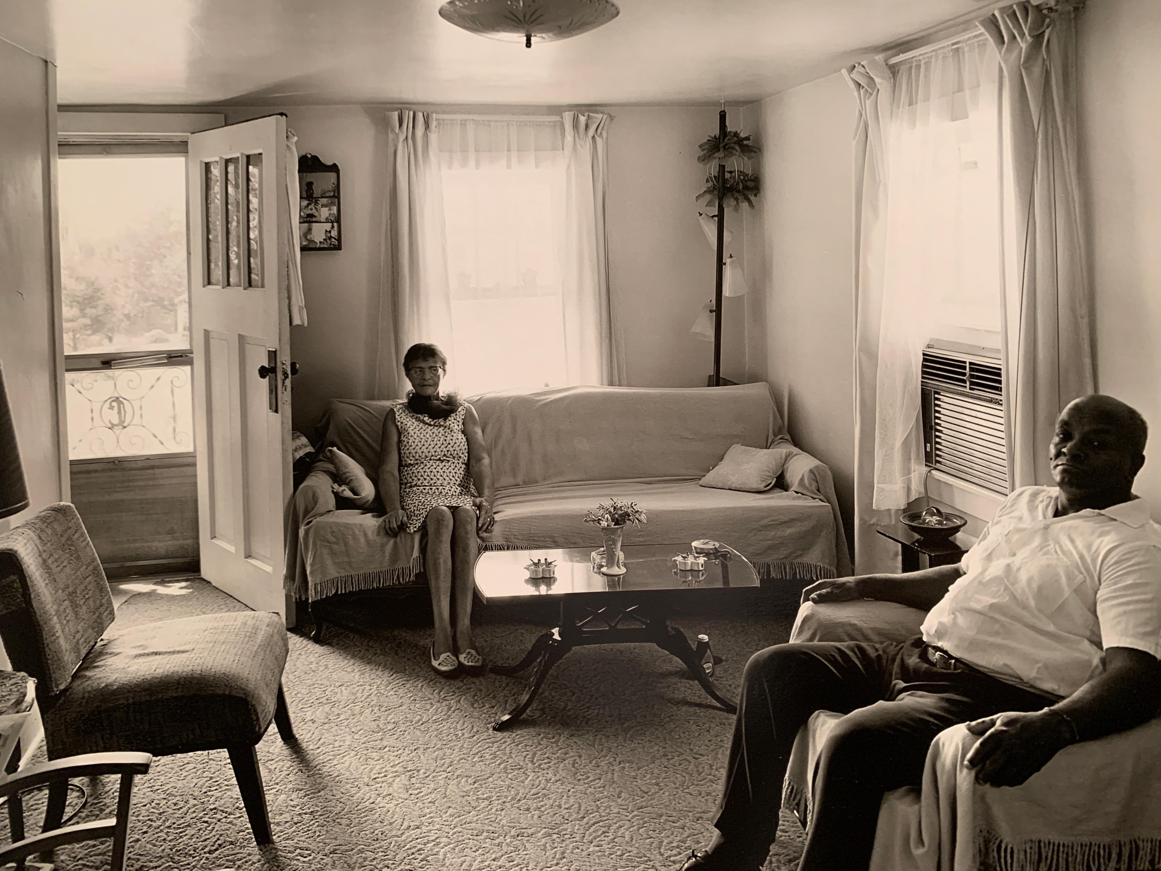 """1970s """"Together Yet Separate"""" Black and White Photo In the Style of Diane Arbus"""