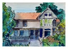 Victorian Home Watercolor Landscape