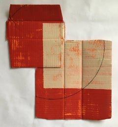 Diane Englander, Red and Buff on Orange 4, 2017, Mixed Media