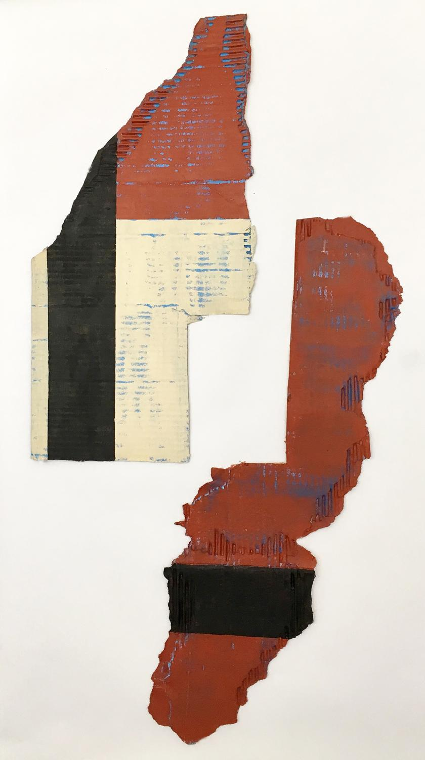 Black on Rust, Buff and Blue 2, 2017,  acrylic, found cardboard, 39 x 19  inches
