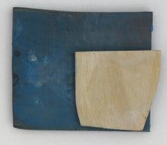 Diane Englander, Pale Form on Blue Wood, 2018  acrylic on scrap wood, 6 x 8 in