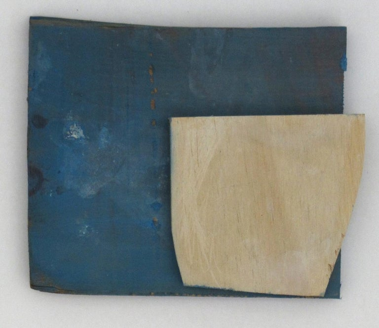 Diane Englander, Pale Form on Blue Wood, 2018  acrylic on scrap wood, 6 x 8 in - Painting by Diane Englander