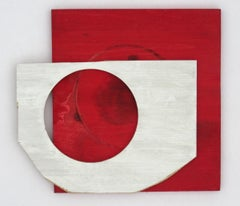 Diane Englander, White Form on Red Wood, 2018, scrapwood and acrylic, 12 x 13 in
