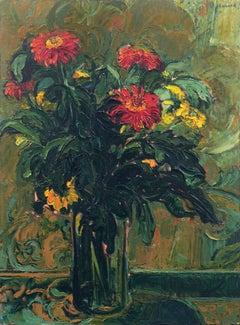 'Red Flowers', Salon D'Automne, Grand Palais, Paris, New York, London, Large Oil