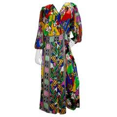 Diane Freis 1980s Floral Printed Dress