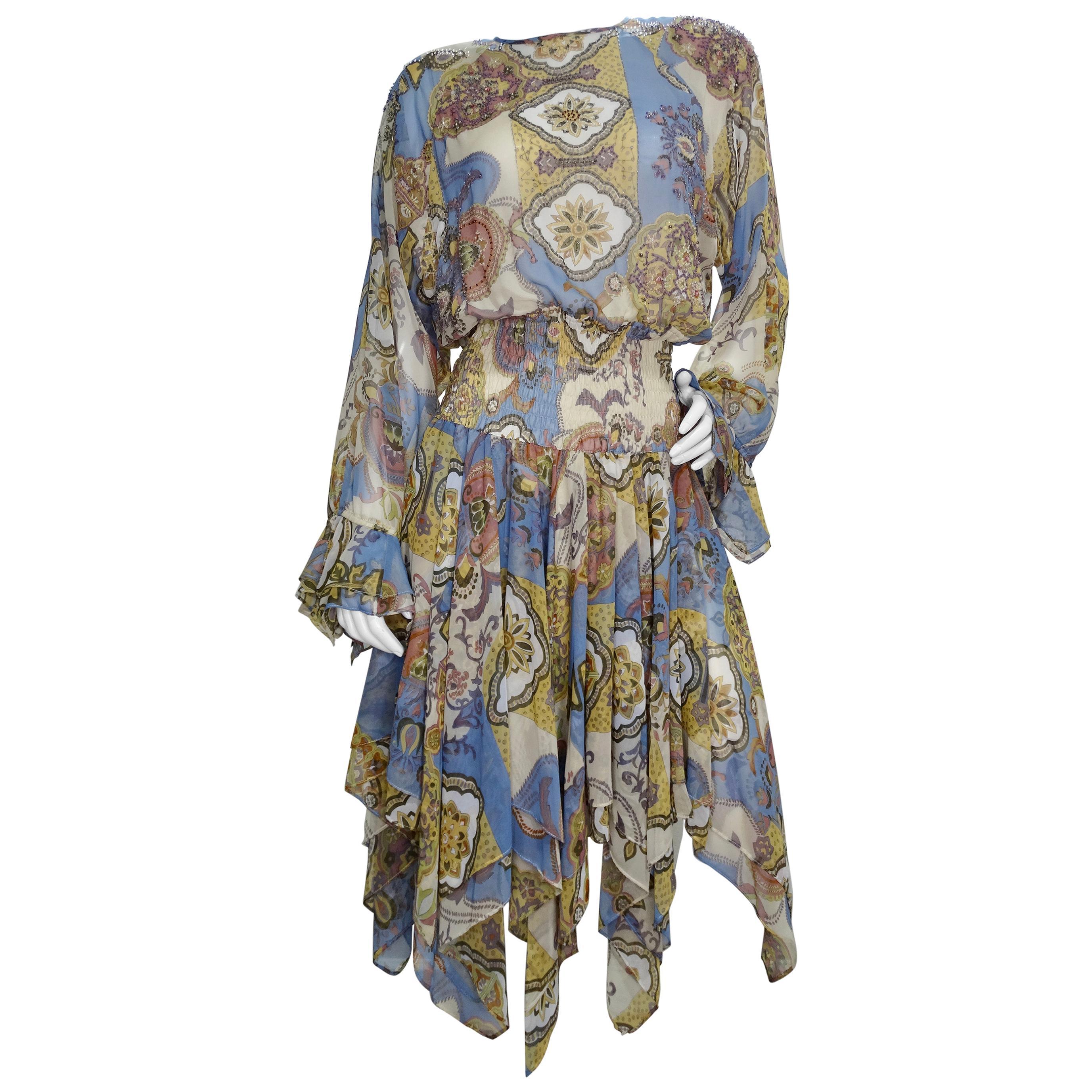 Diane Freis 1980s Printed Dress
