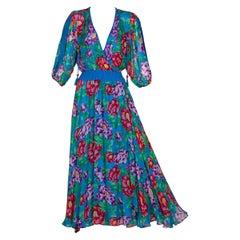 Diane Freis Blue Floral Silk Georgette Dress, 1990s