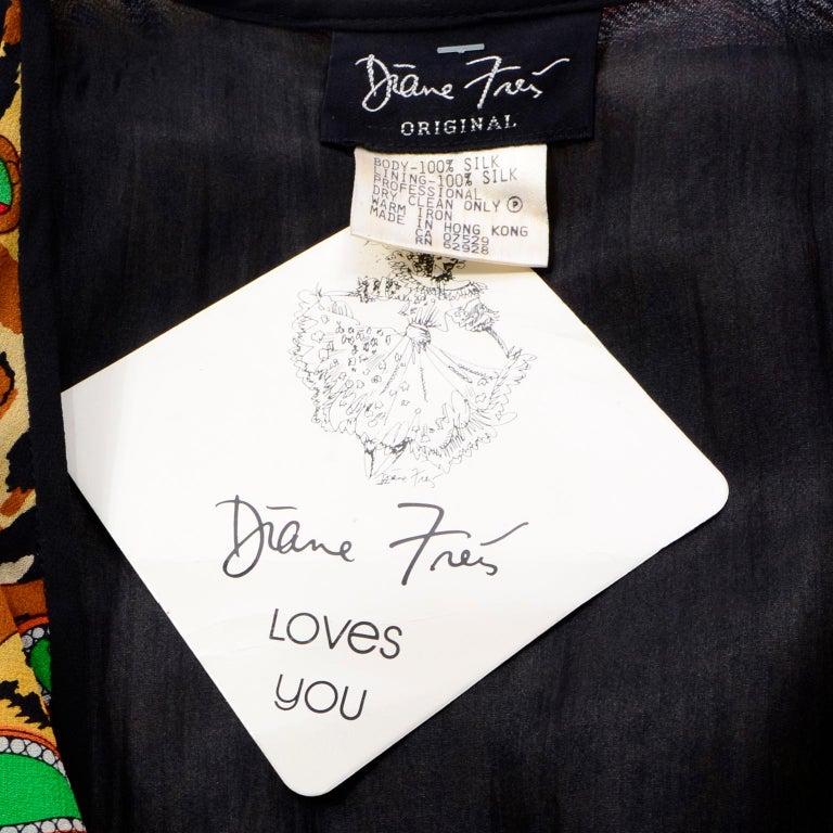 Diane Freis Deadstock Silk Vintage 1980s Animal Print Dress w/ Tag For Sale 7