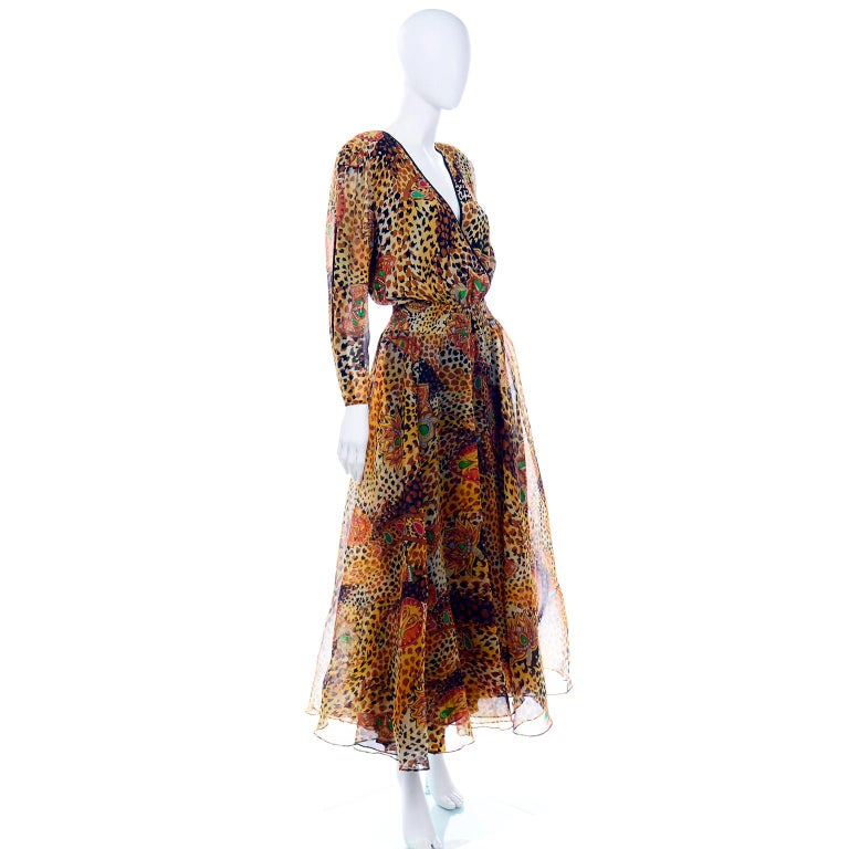 Diane Freis Deadstock Silk Vintage 1980s Animal Print Dress w/ Tag In New Condition For Sale In Portland, OR