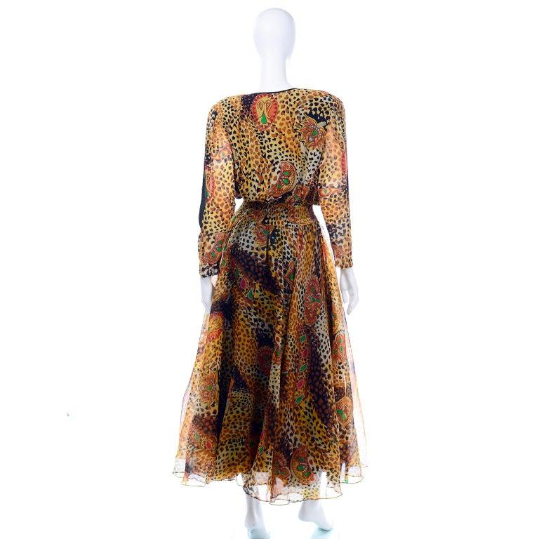Women's  Diane Freis Deadstock Silk Vintage 1980s Animal Print Dress w/ Tag For Sale