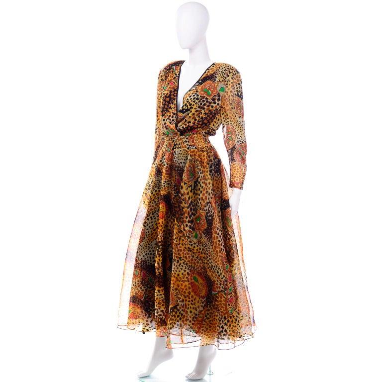 Diane Freis Deadstock Silk Vintage 1980s Animal Print Dress w/ Tag For Sale 1