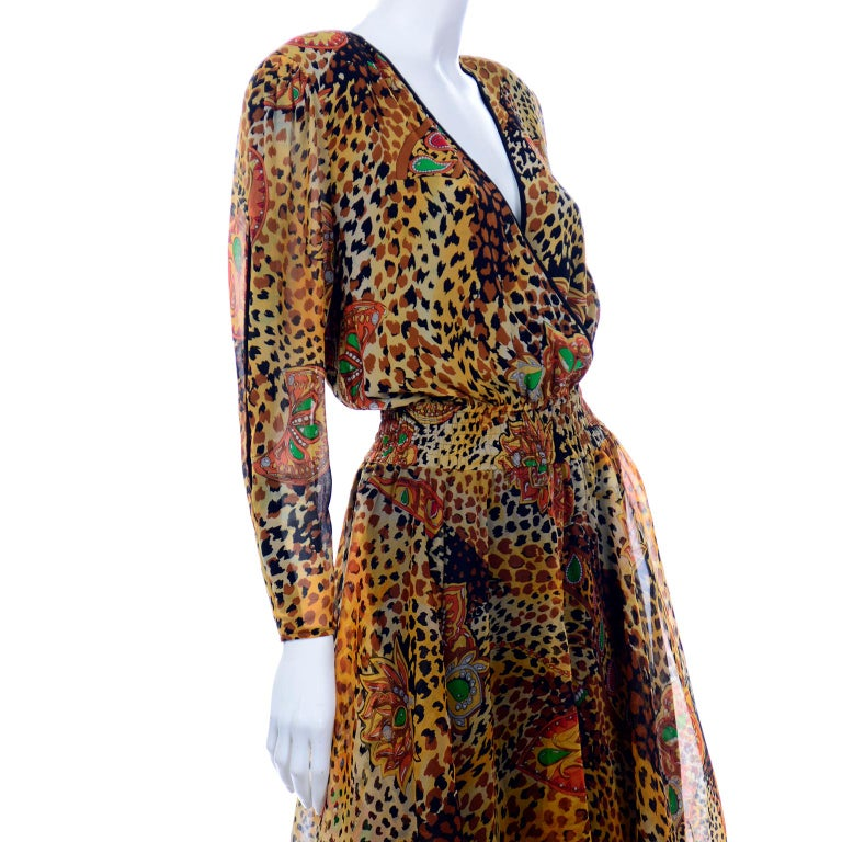 Diane Freis Deadstock Silk Vintage 1980s Animal Print Dress w/ Tag For Sale 2