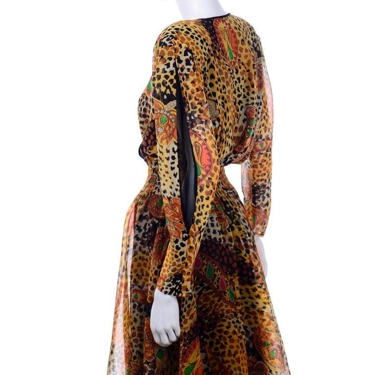 Diane Freis Deadstock Silk Vintage 1980s Animal Print Dress w/ Tag For Sale 3