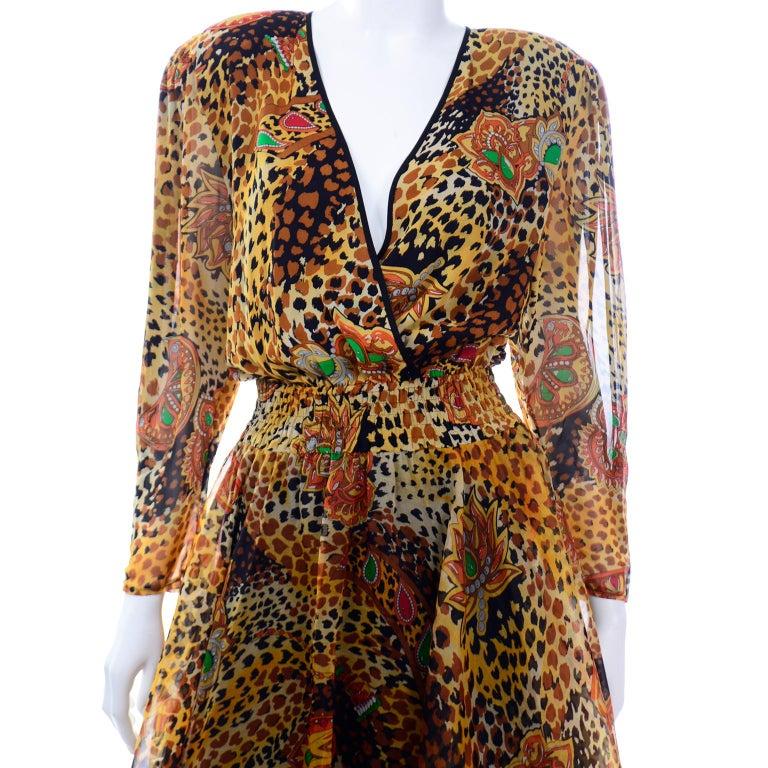 Diane Freis Deadstock Silk Vintage 1980s Animal Print Dress w/ Tag For Sale 5