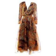 Diane Freis Deadstock Silk Vintage 1980s Animal Print Dress w/ Tag