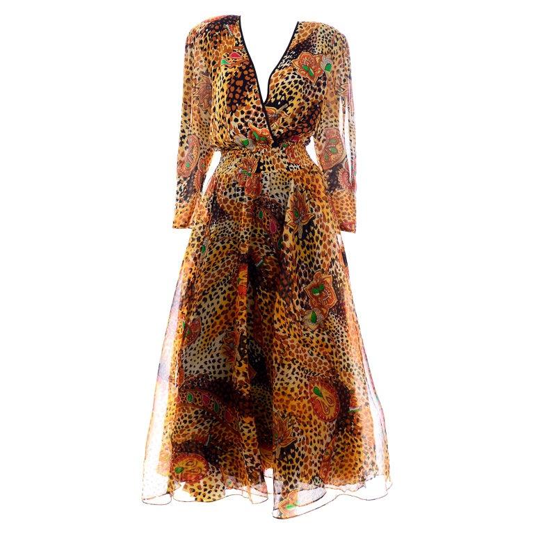 Diane Freis Deadstock Silk Vintage 1980s Animal Print Dress w/ Tag For Sale
