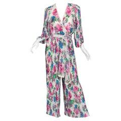 Diane Freis Floral Chiffon Jumpsuit, 1980s