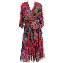 Diane Freis Multi Colored Bold Print Beaded Vintage Dress w Ruffled Sleeves