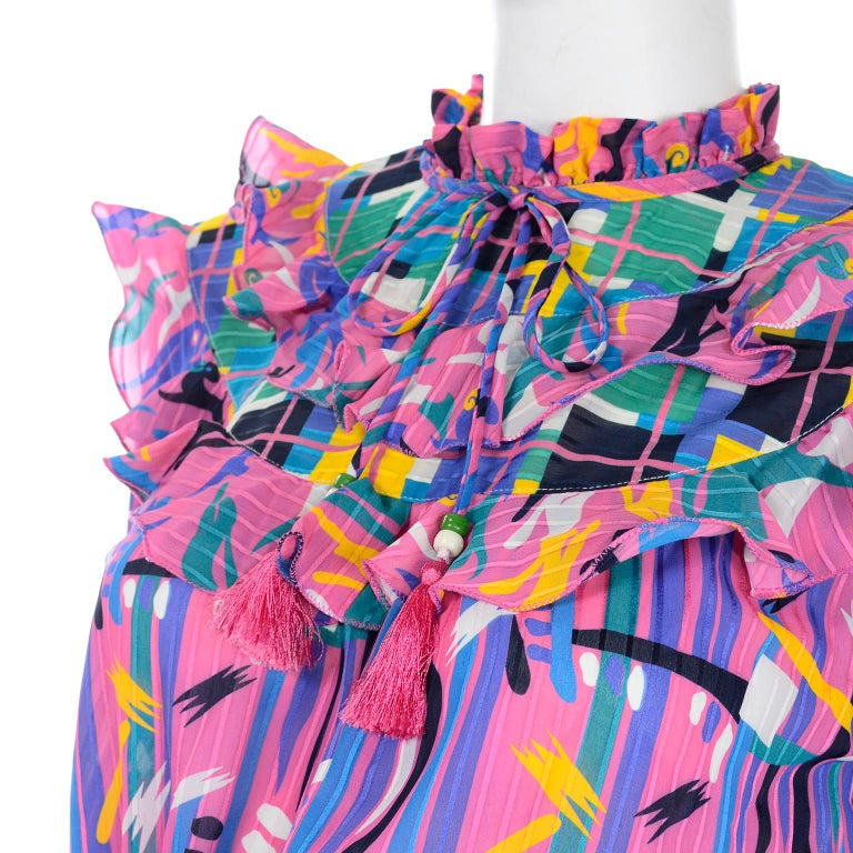 Diane Freis Pink Purple Abstract Print Georgette Colorful Ruffled  Dress For Sale 8