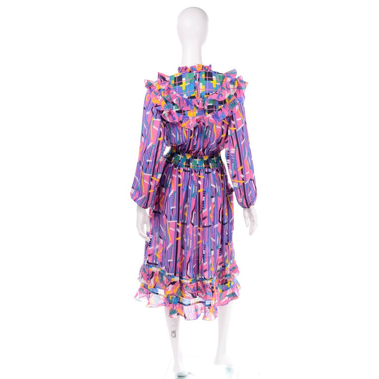 Women's Diane Freis Pink Purple Abstract Print Georgette Colorful Ruffled  Dress For Sale