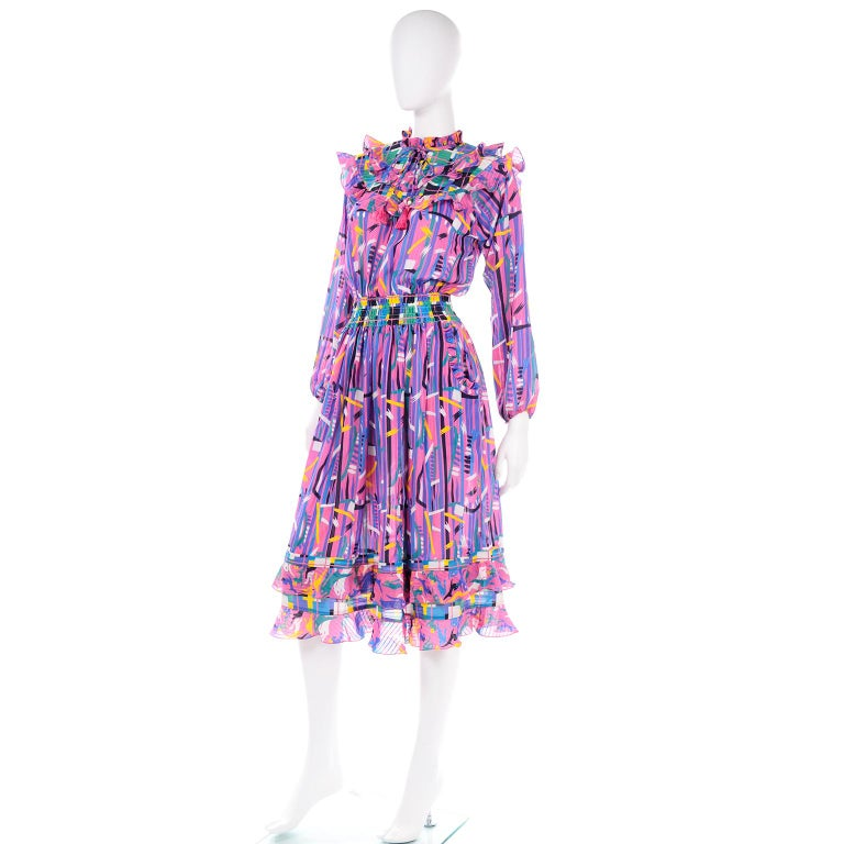 Diane Freis Pink Purple Abstract Print Georgette Colorful Ruffled  Dress For Sale 1