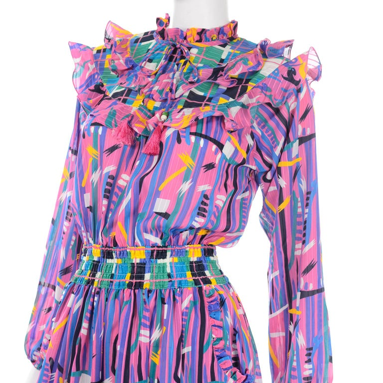 Diane Freis Pink Purple Abstract Print Georgette Colorful Ruffled  Dress For Sale 2