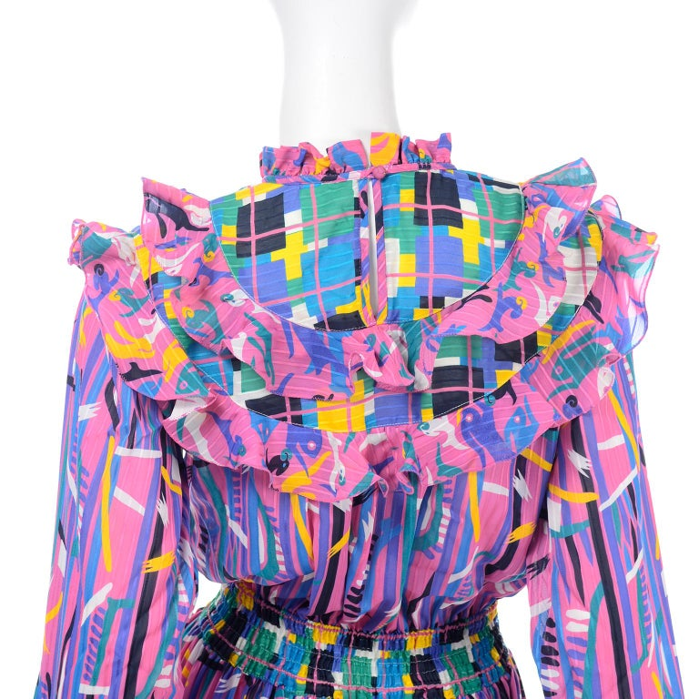 Diane Freis Pink Purple Abstract Print Georgette Colorful Ruffled  Dress For Sale 5