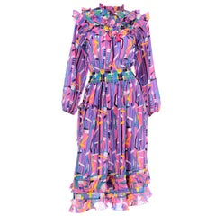 Diane Freis Pink Purple Abstract Print Georgette Colorful Ruffled  Dress