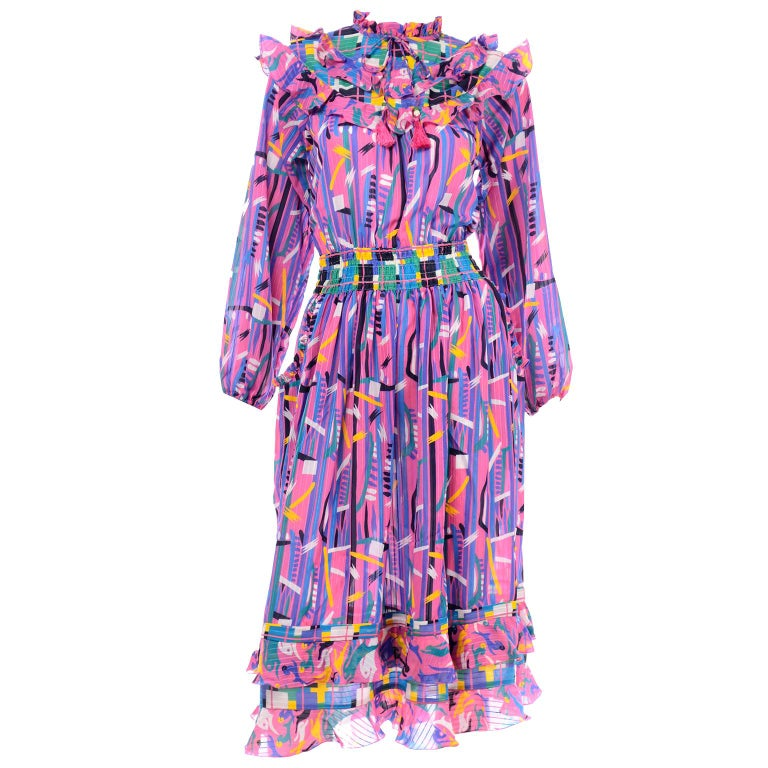 Diane Freis Pink Purple Abstract Print Georgette Colorful Ruffled  Dress For Sale