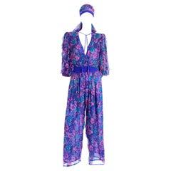 Vintage Diane Freis Purple Floral Print Silk Jumpsuit w Tassels and Scarf