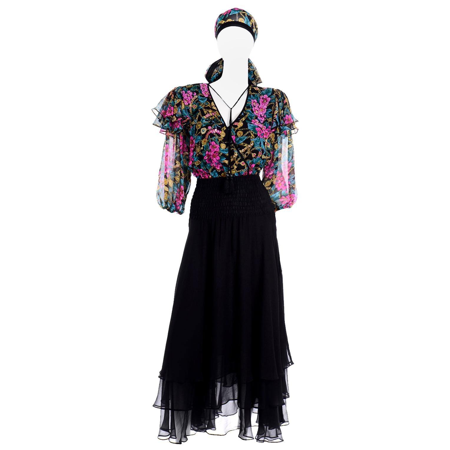 Diane Freis Silk Limited Edition Multi Colored Vintage Beaded Dress & Scarf
