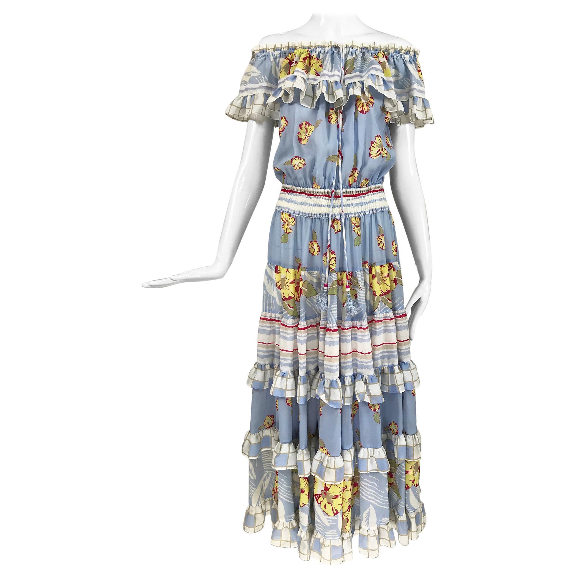 Diane Freis Strapless Ruffle Full Skirt Tropical Print Dress 1980s