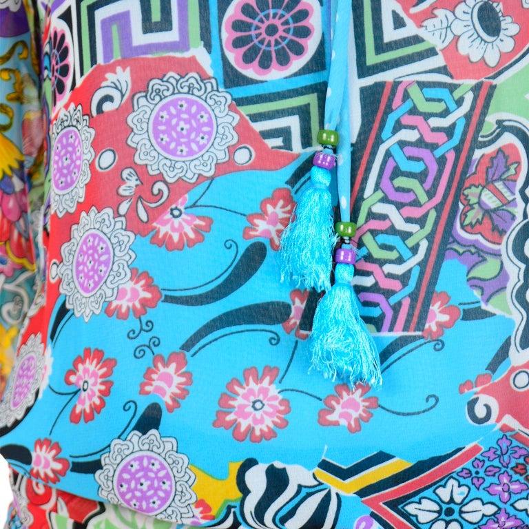 Diane Freis Vintage 1980s Abstract Print Dress W Ruffled Sleeves & Tassels For Sale 5