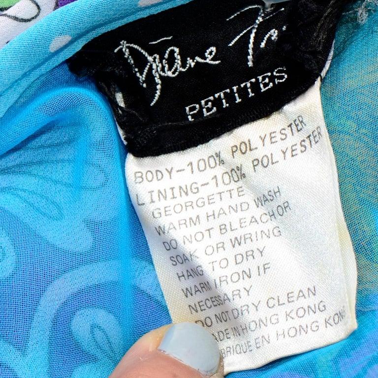 Diane Freis Vintage 1980s Abstract Print Dress W Ruffled Sleeves & Tassels For Sale 6