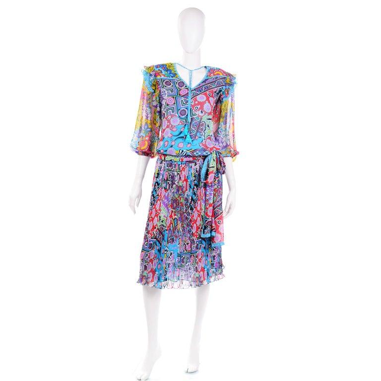 Diane Freis Vintage 1980s Abstract Print Dress W Ruffled Sleeves & Tassels For Sale 1