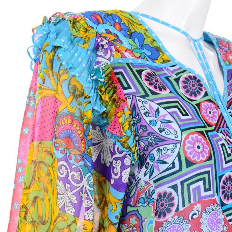 Diane Freis Vintage 1980s Abstract Print Dress W Ruffled Sleeves & Tassels For Sale 2